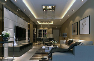 120平米别墅欧式风格客厅背景墙装修效果图