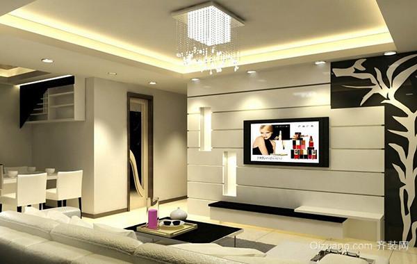 小户型现代都市客厅家装电视墙装修效果图实例