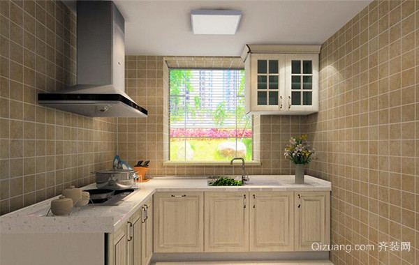 90平米大户型欧式厨房吊顶装修设计效果图