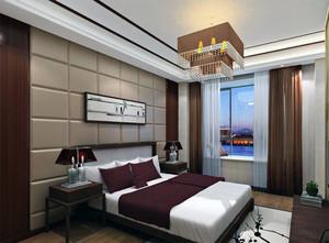 精致的别墅型中式卧室背景墙装修效果图