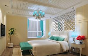 现代地中海风情卧室背景墙装修效果图实例
