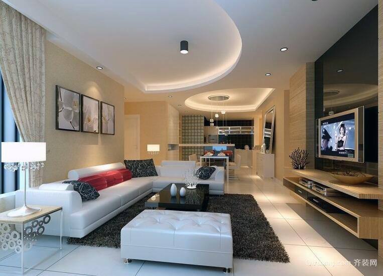 小户型精致现代欧式客厅吊顶装修效果图