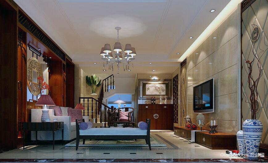 现代精致的别墅型中式客厅装修效果图