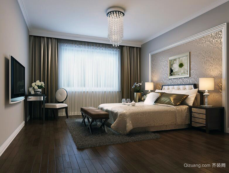 现代欧式大户型卧室装修效果图实例欣赏