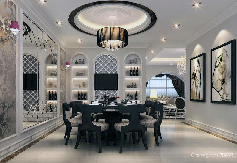 100平米现代简约餐厅装修效果图实例