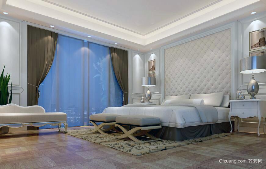 现代欧式别墅型卧室背景墙室内装修效果图