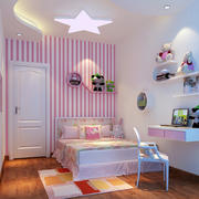 粉色系女生儿童房效果图