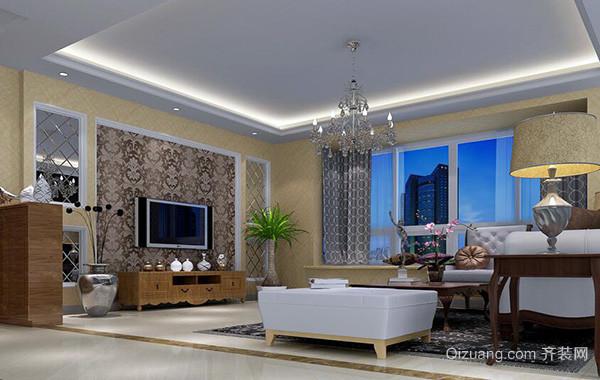 欧式风格别墅客厅电视机背景墙装修效果图