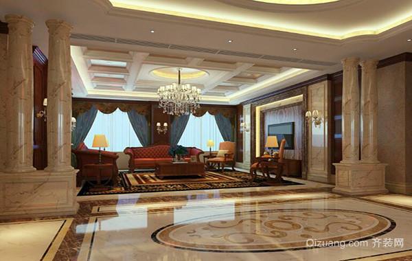 欧式风格别墅客厅吊顶装潢设计效果图