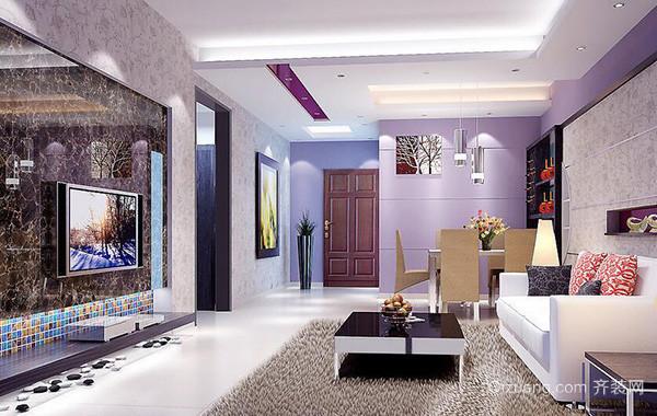 别墅型现代简约客厅电视背景墙装修效果图