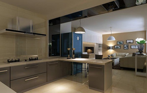 2016欧式别墅开放式厨房吊顶装修效果图实例