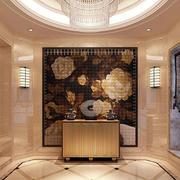 现代时尚混搭客厅背景墙装修效果图