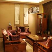 复古中式客厅整体装修图