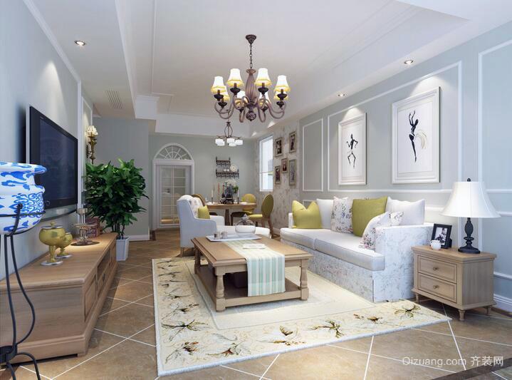 60平米小户型现代欧式客厅装修效果图实例