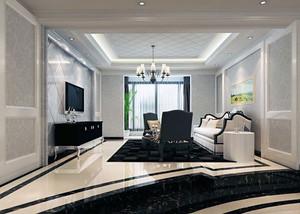 110平米大户型欧式室内电视墙背景装修效果图