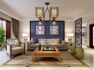 110平米现代混搭时尚客厅背景墙装修效果图