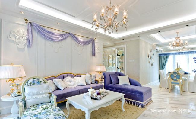 欧式田园风格精致客厅装修效果图