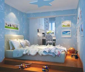 别墅型简欧风格儿童房背景墙装修效果图