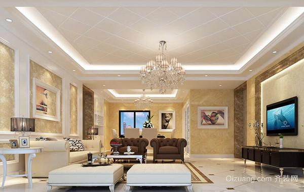 2016大户型欧式家装室内客厅吊顶装修效果图