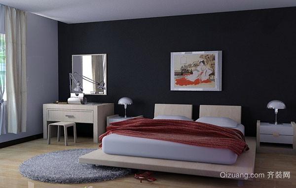 单身公寓中性冷色调卧室装修图