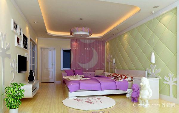 现代简约时尚三居室卧室背景墙装修效果图实例