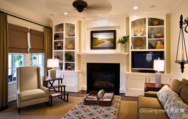 大户型时尚简约精致客厅背景墙效果图