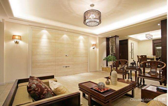 100平米中式简单大气客厅吊灯装修效果图