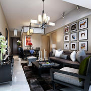 现代时尚简约客厅背景墙装修效果图