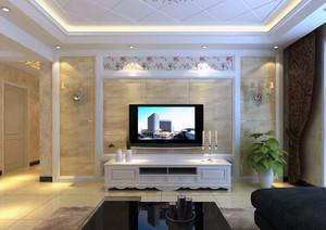 别墅型精致欧式风格电视墙背景装修效果图