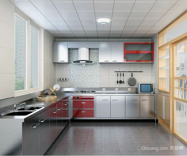 现代都市小户型不锈钢橱柜装修效果图实例