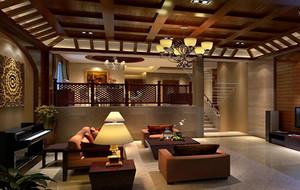 现代都市别墅客厅生态木吊顶装修效果图