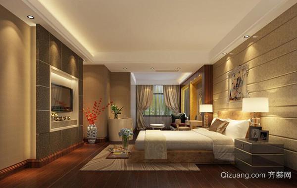 120平米自建别墅欧式卧室背景墙装修效果图