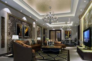 欧式风格大户型客厅沙发背景墙装修效果图