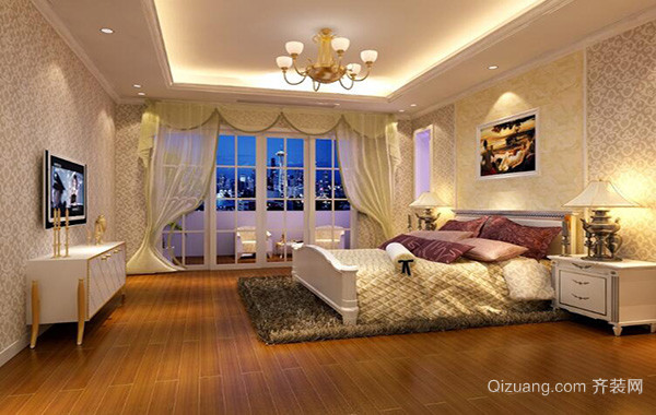 欧式小户型卧室背景墙装修设计效果图