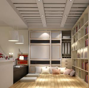 现代简约舒适榻榻米书房装修效果图