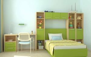 2016现代简约大户型儿童卧室背景墙装修效果图