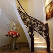 钢木材质楼梯效果图