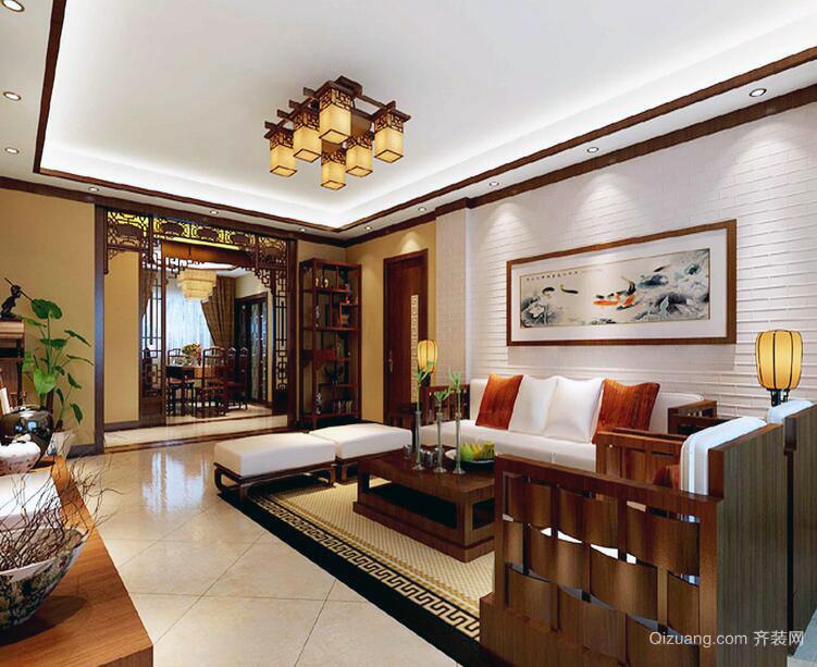2016精致的大户型中式客厅装修效果图鉴赏