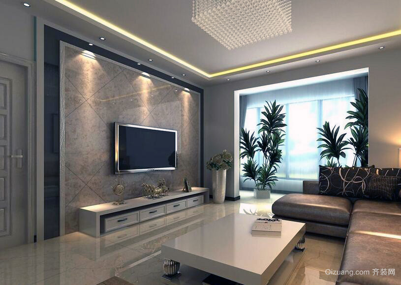 现代欧式小户型电视墙背景装修效果图欣赏