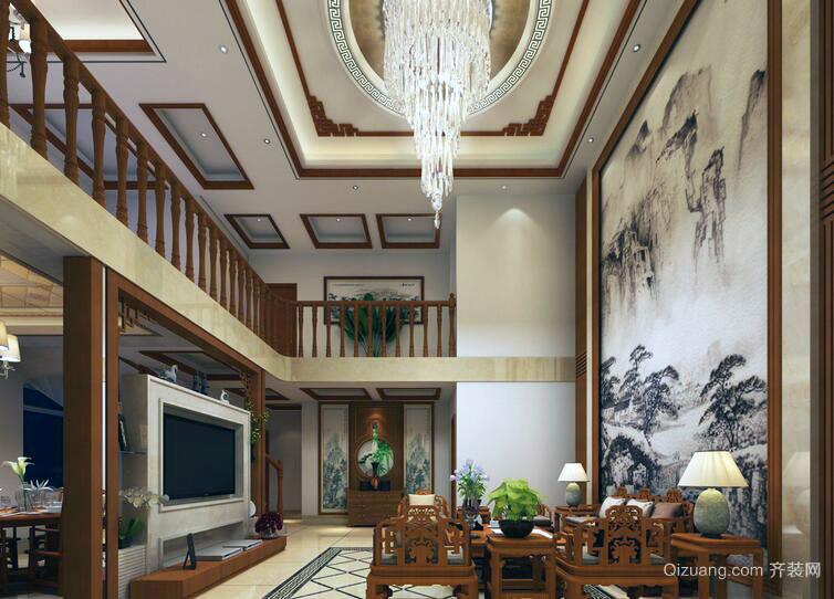 精致的中式现代复式楼室内装修效果图