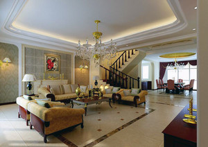 120平米欧式风格唯美的客厅吊顶装修效果图