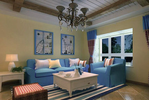 100平米大户型房屋地中海风格客厅装修效果图