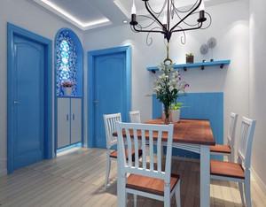 大户型时尚地中海餐厅背景墙风格装修效果图
