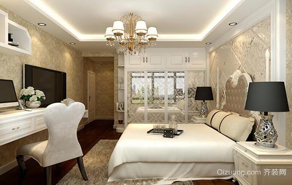 别墅型唯美的简欧风格卧室吊顶装修效果图