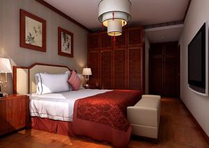 两居室现代复古中式卧室装修效果图