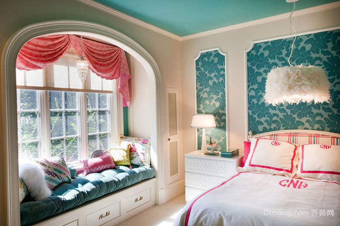 地中海风情卧室飘窗装修效果图