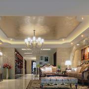 现代精致的欧式大户型客厅装修效果图