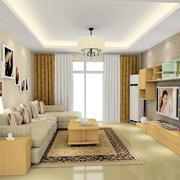 现代简约时尚混搭客厅电视背景墙效果图