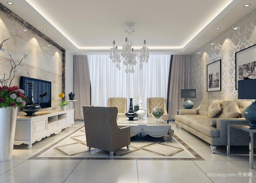 2016大户型唯美简欧风格现代客厅装修效果图