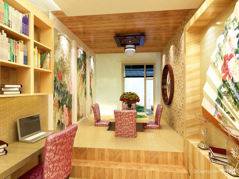 都市中式风格榻榻米书房装修效果图